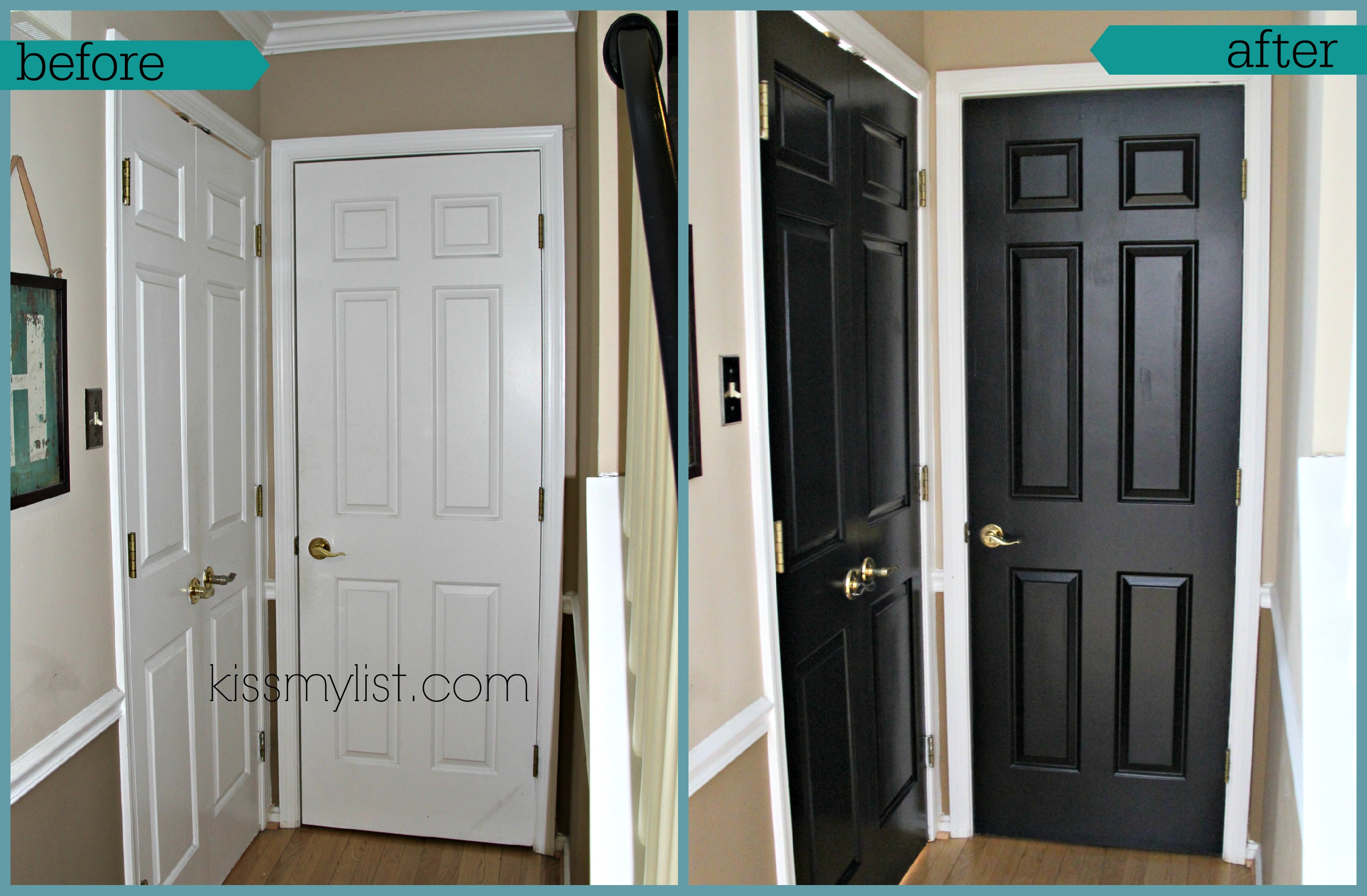 painted black doors before and. Black Bedroom Furniture Sets. Home Design Ideas